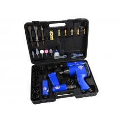 Trusa cu pistol de impact, clichet pneumatic, pistol pneumatic percutor, biax pneumatic si accesorii, 30 piese Geko G00583