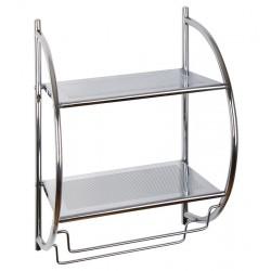 Etajera metalica cu 2 rafturi si suport de prosoape si accesorii baie, 45 x 26 x 54 cm AWD02050027